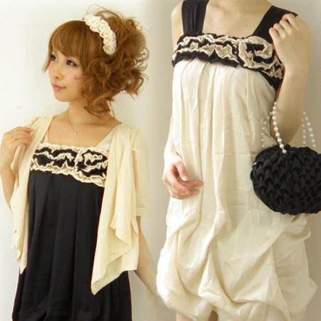 胸元フリルのサテンバルーンワンピースドレス